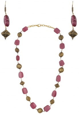 Rose Pink and Golden Beads Necklace Set