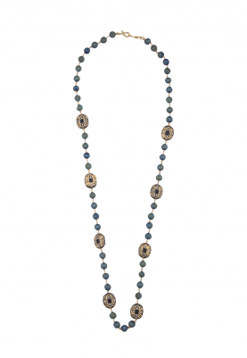 Blue Pearls and Golden Crystal Necklace
