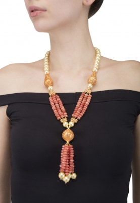 Antique Finish Pearl and Peach Necklace