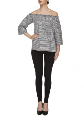 Black and White Ghingham Checks Off-Shoulder Top