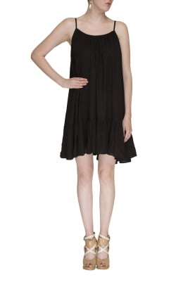 Spaghetti Style Flow Little Black Dress with Gather and Flare