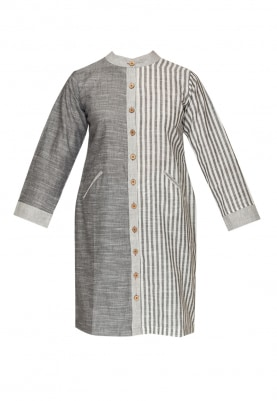 Grey Straight Cut Kurta with Stripes and Solids