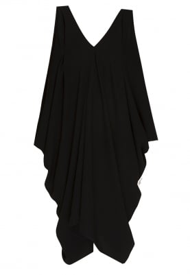 Black Asymmetric Drape Dress