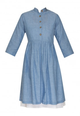 Blue Dress with Aristocratic Button