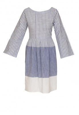 Blue White Combination Stripe Chambray Look Dress