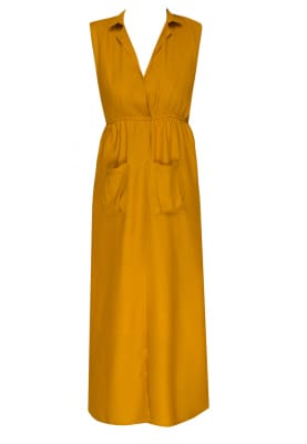 Mustard High Slit Front Open Gathered At Waist Shirt Dress