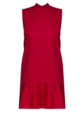 Red Dres with Gathered Frill