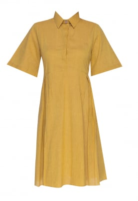 Yellow Collared Flowy Shirt Style Dress