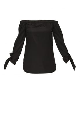 Black Off-Shoulder Top with Knot At Sleeve Hem