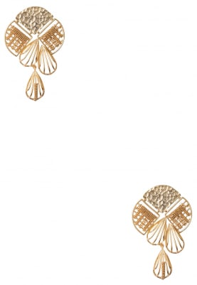 Gold Plated Floral Dangler Earrings