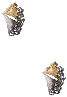 Black, Silver and Gold Baroque Stud Earrings
