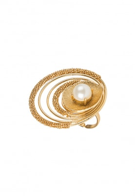 Gold Plated Pearl Concentric Ring