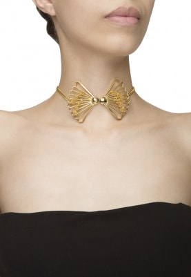 Gold Finish Bow Choker