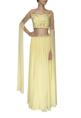 Lemon Yellow Embellished Golden Work Crop Top with Panel Flared and Volume Skirt
