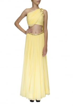Lemon Yellow Embellished Crop Top with Draped Dupatta Attached and Embellished Waist Band Lehenga