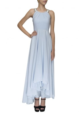 Powder Blue Draped Bodice with Asymmetrical Flare with Sequin and Zari Work Palazzo