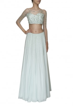 Pista Delicately Embroidered Crop Top and Skirt with Embellished Waistband