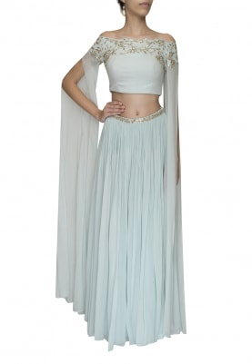 Pista Embellished Crop Top with Draped Dupatta Attached and Embellished Waist Band Lehenga