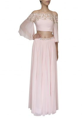 Pink Embellished Crop Top with Draped Dupatta Attached and Embellished Waist Band Lehenga