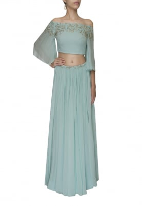 Blue Embellished Crop Top with Draped Dupatta Attached and Embellished Waist Band Lehenga