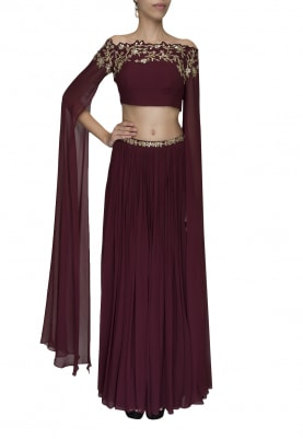 Marsala Embellished Crop Top with Draped Dupatta Attached and Embellished Waist Band Lehenga
