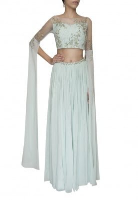 Pista Green Embellished Golden Work Crop Top with Panel Flared and Volume Skirt