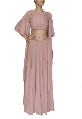 Deep Old Rose Hand Embroidered Crop Top with Statement Sleeve and Sequin Cheeta Work Skirt