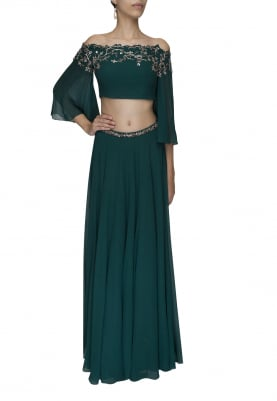Teal Green Off-Shoulder Cutwork Embroidered Neckline Top and Embellished Waist Band Skirt