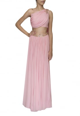Old Rose Pink Embellished Crop Top with Draped Dupatta Attached and Embellished Waist Band Lehenga