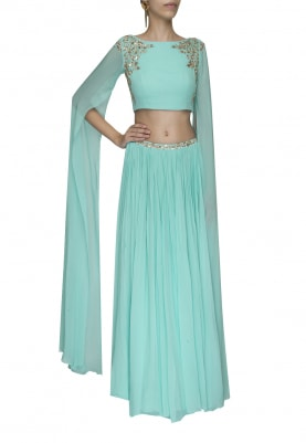 Light Blue Mukaish Embroidered Crop Top with Embellished Waist Band Gathered Skirt