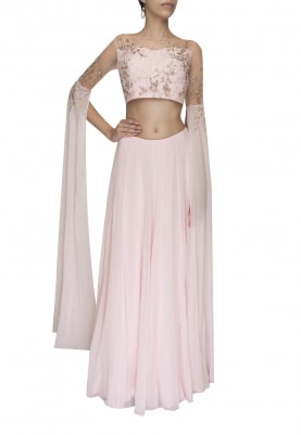 Light Pink Embellished Golden Work Crop Top with Panel Flared and Volume Skirt