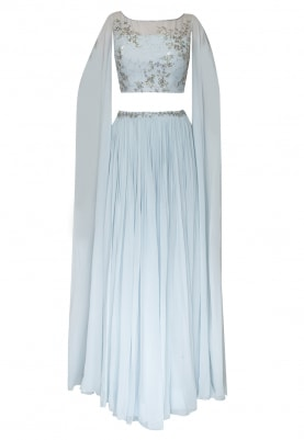 Powder Blue Cape Style Sleeve Crop Top with Embroidered and Waist-Band Embellished Skirt