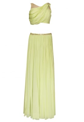 Lime Green Embellished Crop Top with Draped Dupatta Attached and Embellished Waist Band Lehenga