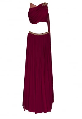 Wine Red Embellished Crop Top with Draped Dupatta Attached and Embellished Waist Band Lehenga