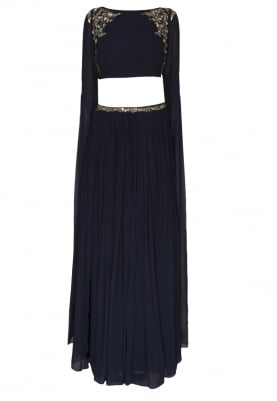 Navy Blue Mukaish Embroidered Crop Top with Embellished Waist Band Gathered Skirt