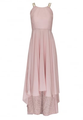 Pink Draped Bodice with Asymmetrical Flare with Sequin and Zari Work Palazzo