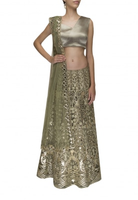 Green Off-Shoulder Draped Crop Top with Leather Laser Cut Embroidered Lehenga