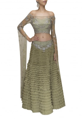 Olive Off-Shoulder Embellished Blouse with Cape Sleeve Paired with Multiple Ruffle Layered Lehenga