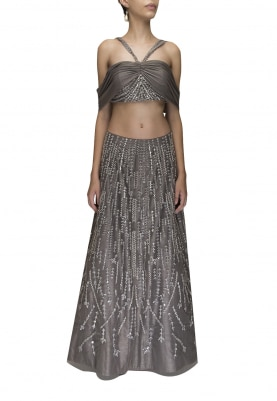 Charcoal Grey Halter Off-Shoulder Crop Top with Lehenga