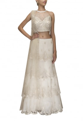 Ivory Halter Embroidered Crop Top with 4 Tier Scalloped Hemline Lehenga