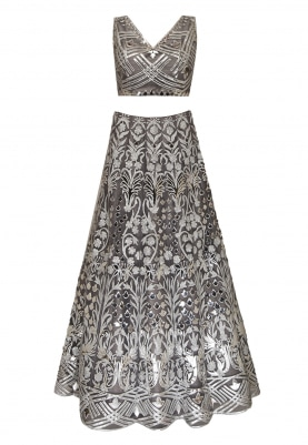 Steel Grey Leather Laser Cut Embellished Crop Top and Lehenga