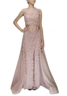 Orchid Pink Princess Cut Lehenga with Blouse and Draped Dupatta