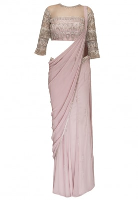Baby Pink Draped Waistband Embellished Saree with Embroidered Blouse