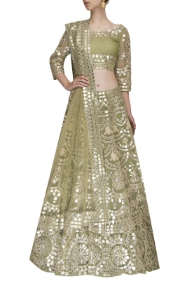 Green Crop Top and Lehenga with Leather Embroidered Work