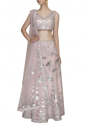 Lotus Pink Crop Top with Leather Embroidered Lehenga