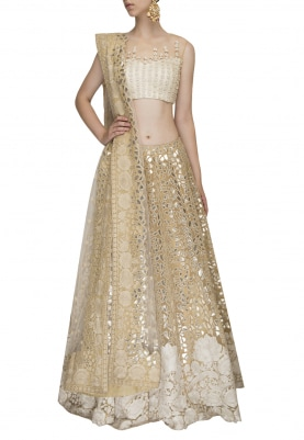 Beige Crop Top with Intricate Embroidered Lehenga
