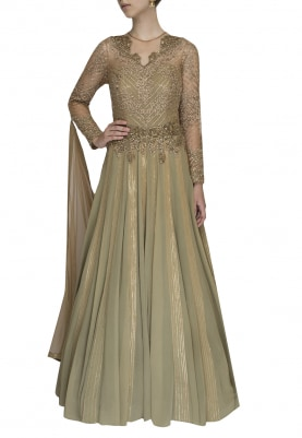Olive Embellished Anarkali with Drape Dupatta