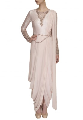Frozen Pink Draped Dhoti Saree with Intricate Patterned Embroidery