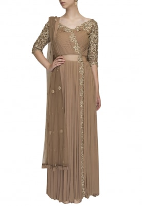 Beige Pleated Embroidered Angarakha Style Anarkali