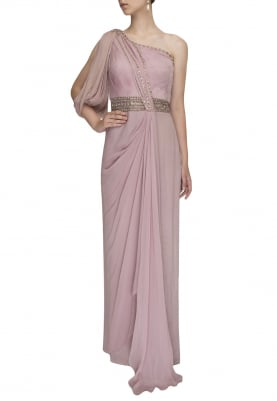 Persian Pink Off-Shoulder Draped Gown with Embellished Waist Band and Pleated Yoke